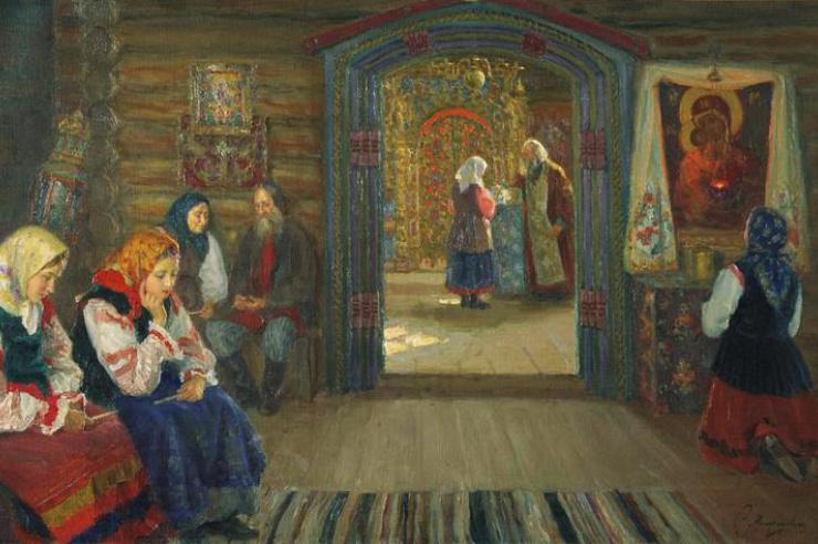 У исповедника. С.Д. Милорадович 1915 г.