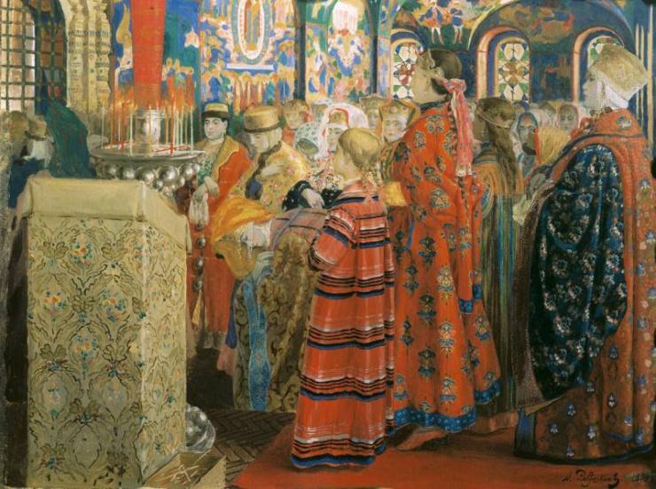 Русские женщины XVII столетия в церкви. Рябушкин А. П. 1899 г.