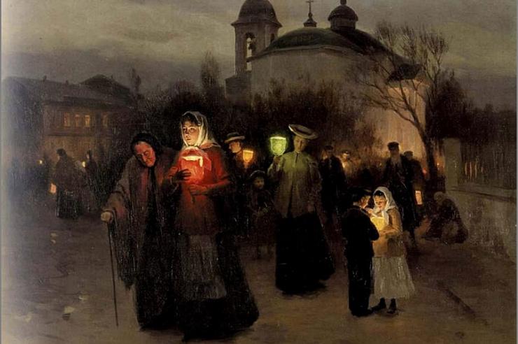 Выход из церкви в Страстной четверг. Н .Пимоненко
